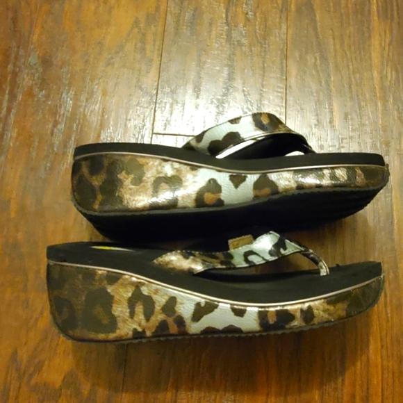 Volatile Wedge Thong  Cheetah Print Size 10